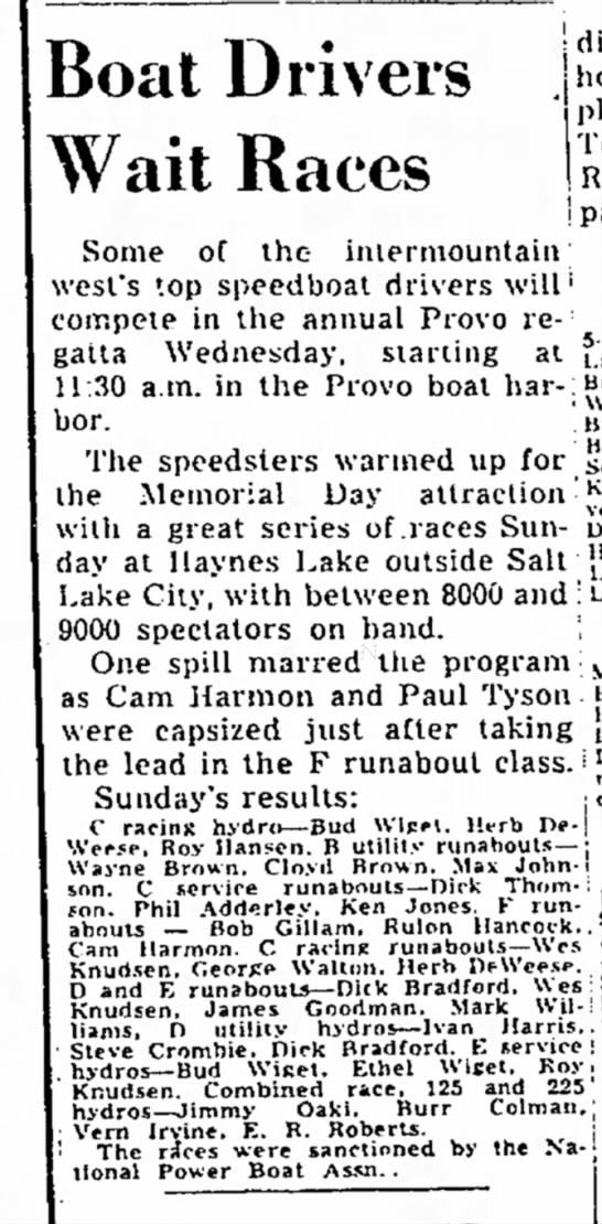 The Salt Lake Tribune (Salt Lake City, Utah) May 29 1951 page 31 -
