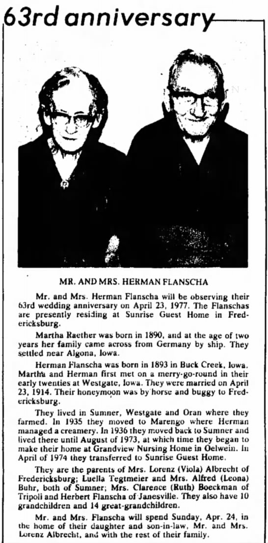Flanscha 63rd Anniversary - 63rd anniversary- MR. AND MRS. HERMAN FLANSCHA...