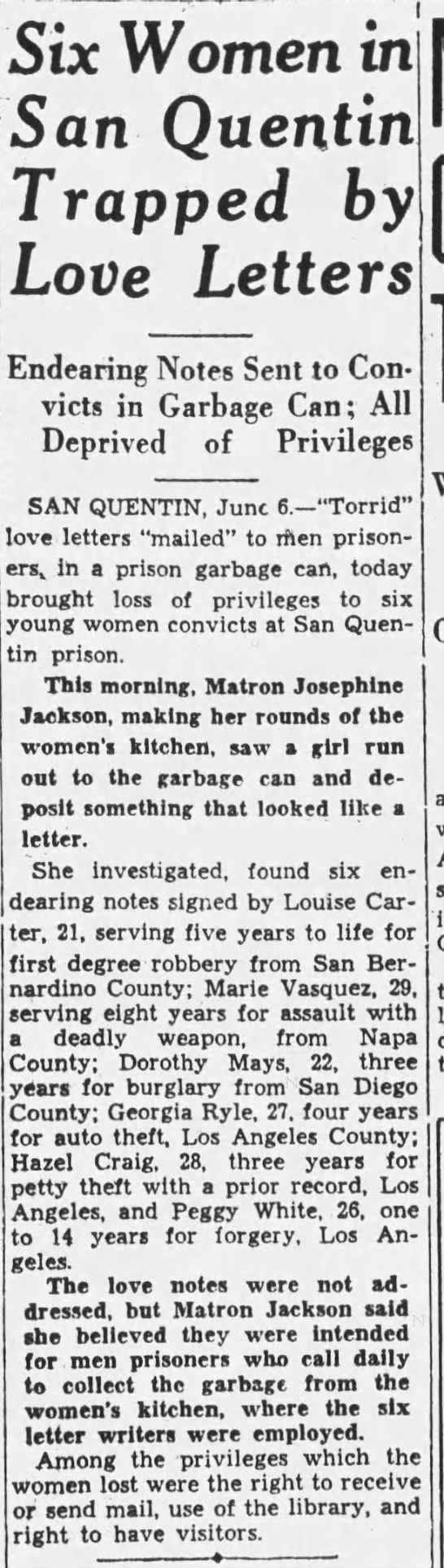 1933-06-06 San Quentin women send love letters in garbage cans -
