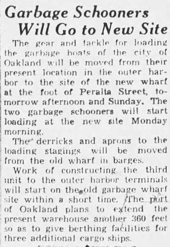 1933-06-09 Oak garbage boats go to new wharf -