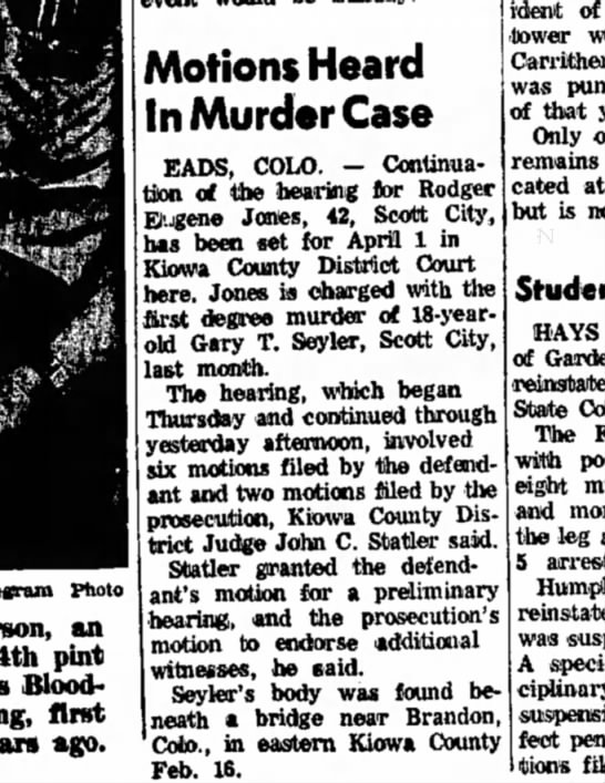 Motions Heard in Murder Case - 27 Mar 1971 - Garden City Telegram
