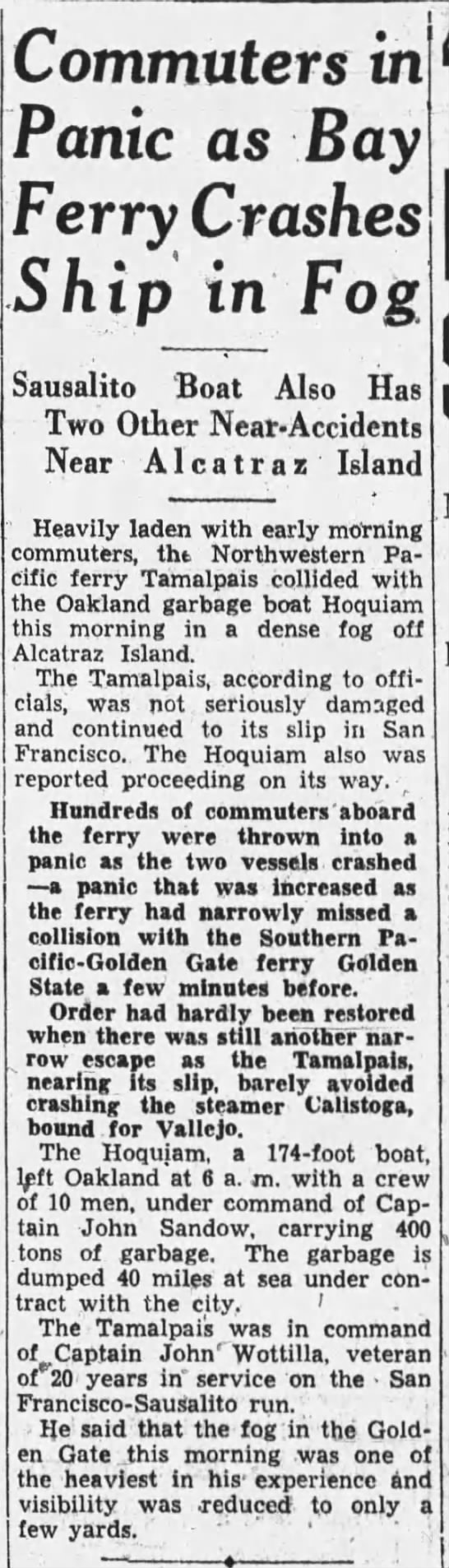 1933-02-02 Oak garbage boat collides with ferry in fog -