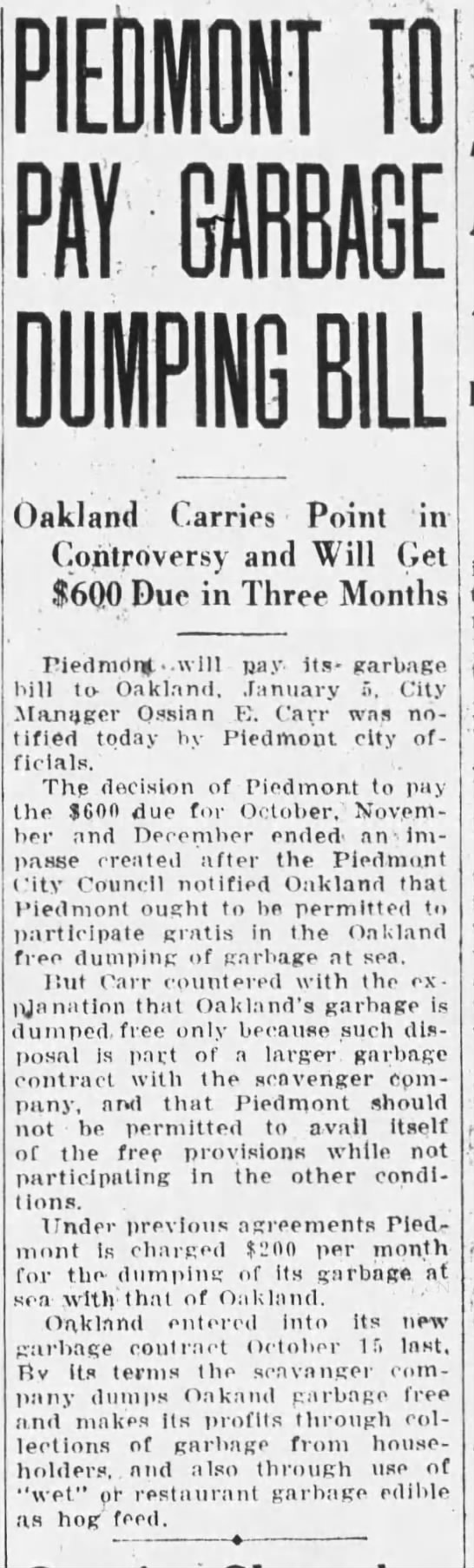 1932-12-28 Piedmont will pay Oak garbage fee -