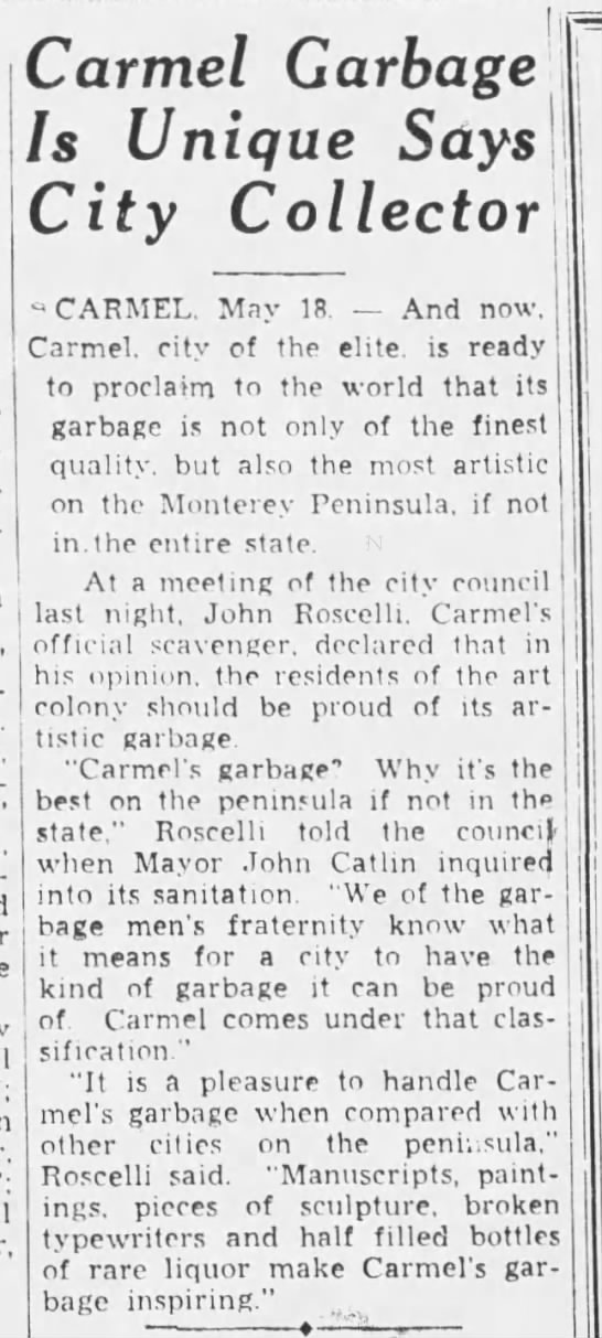 1933-05-18 Carmel garbage the best says scavenger -
