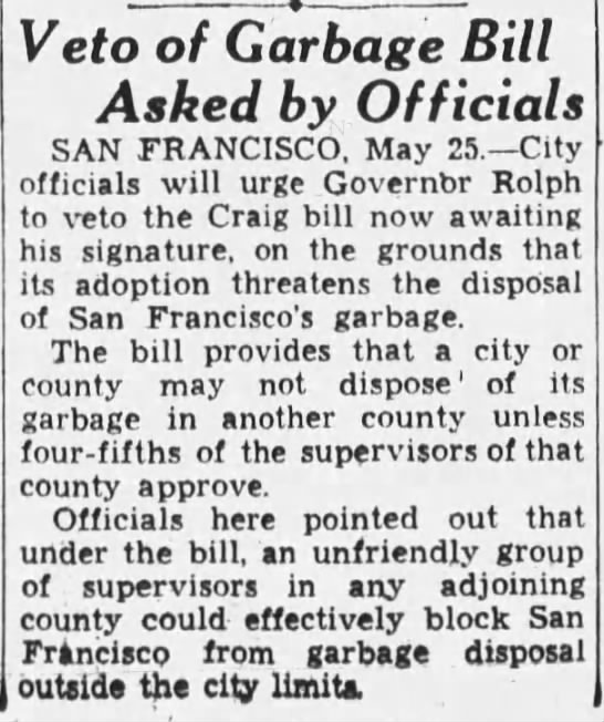1933-05-25 SF asks governor to veto cross-county dumping ban -