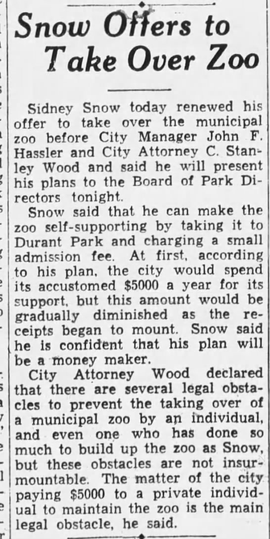 Snow Offers to Take Over Zoo - Oakland Tribune May 14, 1934 -