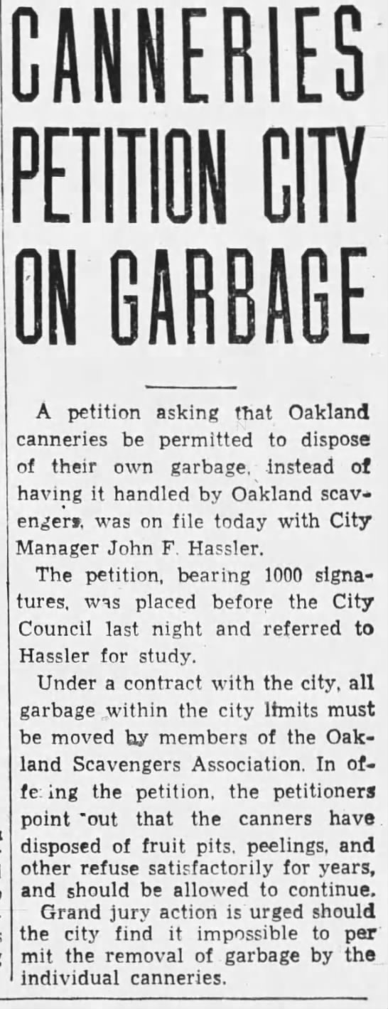 19343-08-24 Oak canneries petition council to avoid scavengers -
