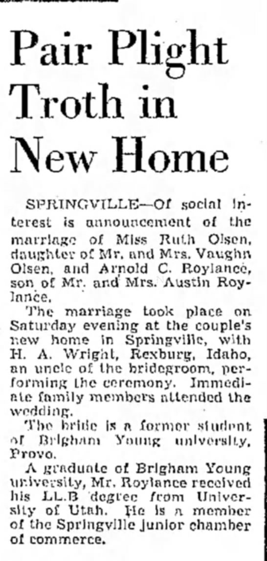 1941Apr6-Ruth-Arnold wedding announcement -