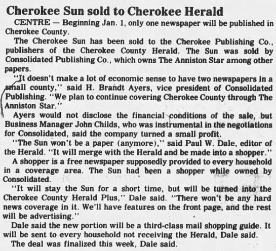 Cherokee Sun sold to Cherokee Herald (1988) -
