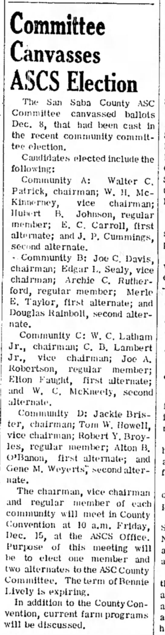 The San Saba News and Star 14 Dec 1972 Committee Canvasses ASCS Election -