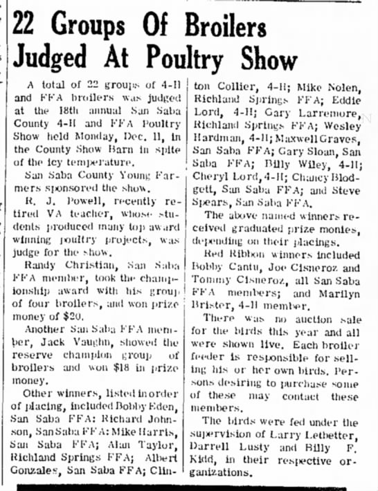 The San Saba News and Star 14 Dec 1972 Pg. 1 22 Groups of Broilers judged at Poultry Show -