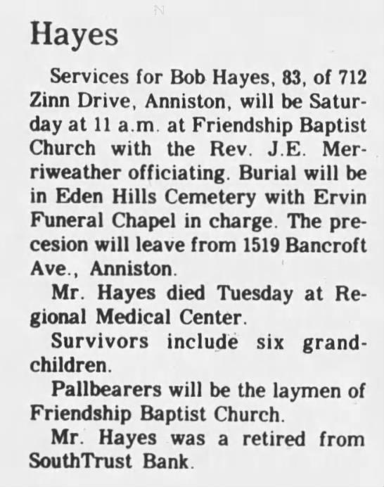 Bob Hayes obituary from 1989. -