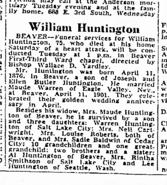 SLTrib 6-26-51 William H. obit. -
