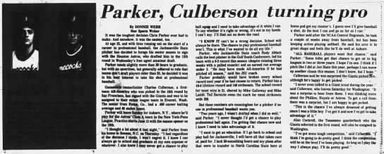 Parker, Culberson turning pro -