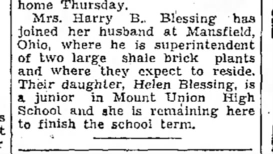 Harry B. Blessing-manager 2 brick yards in Ohio-TDN-15 Apr 1948 -