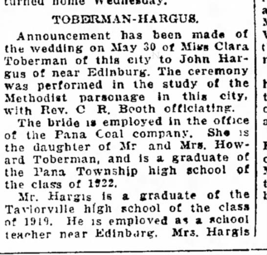 clara toberman wed 1926 -