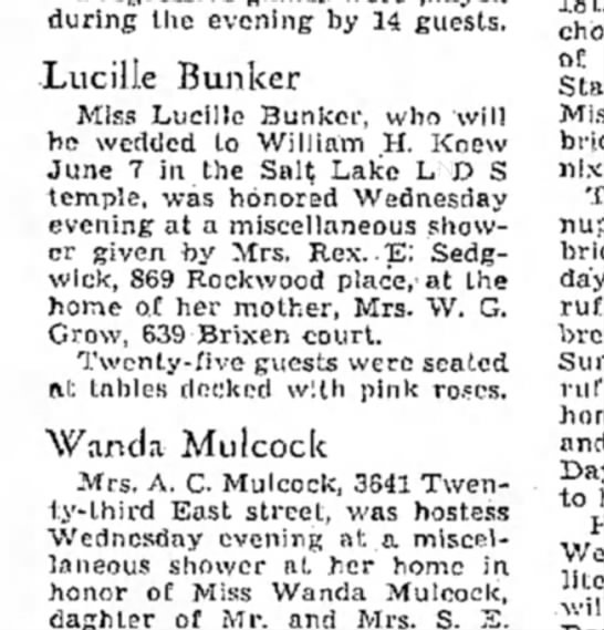 May 29, 1941 - Salt Lake Tribune - Thursday - during the evening by 14 guests. Lucille Bunker...