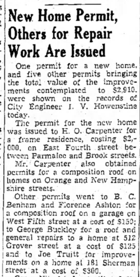 George M Buckley home repair permit issued - New Home Permit, Others for Repair Work Are...