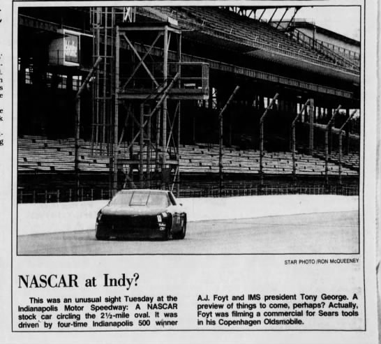 AJ Foyt driving NASCAR stock car at Indy in 1991 -