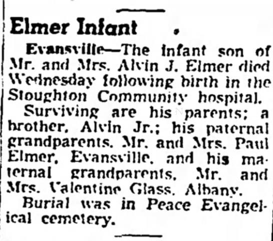 Elmer Infant Obituary - Grandparents Valentine & Wife Glass -