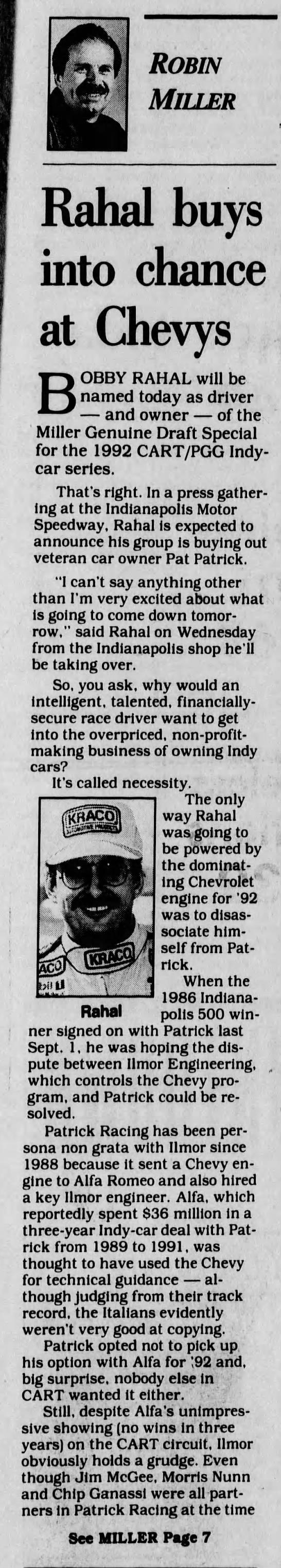 Bobby Rahal / Patrick Racing 1991 -