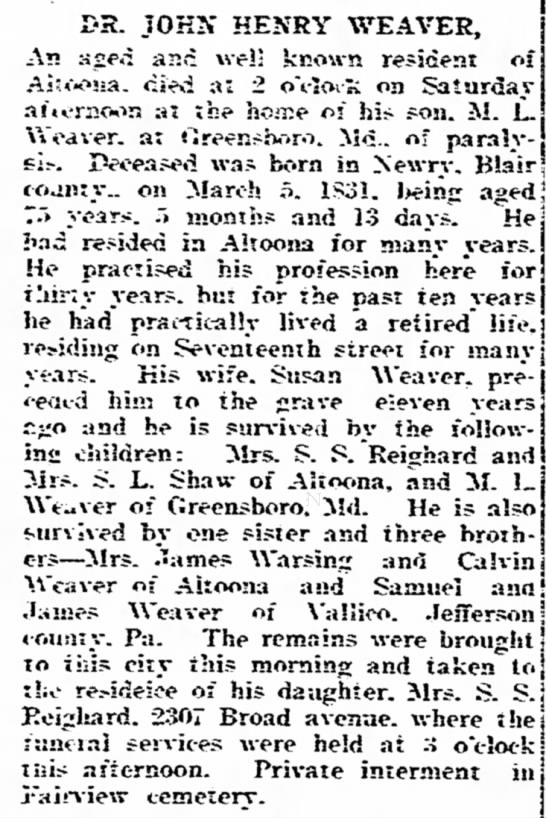 Reighard Weaver Altoona Pa Mirror 20 Aug 1906 -