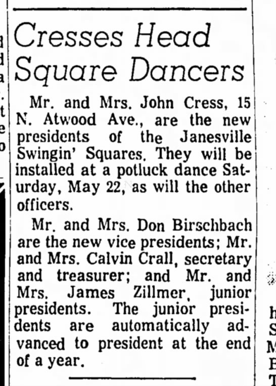Mr. and Mrs. Don Birschbach - Cresses Head Square Dancers -