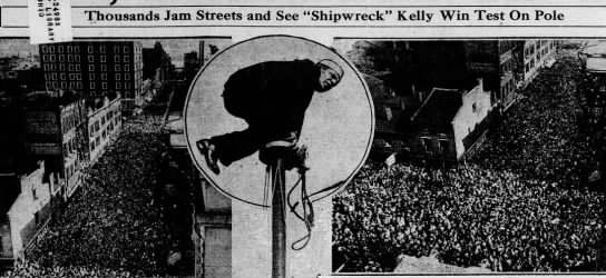 Shipwreck Kelly demonstrates flagpole sitting, 1928 -