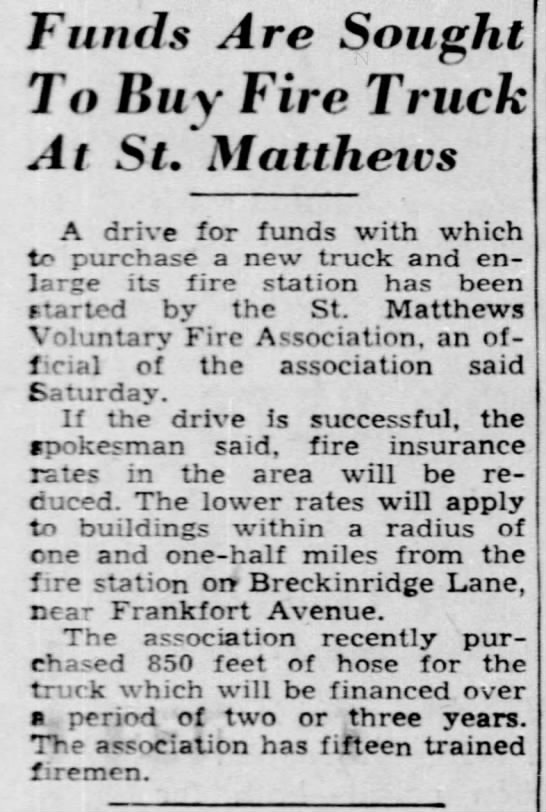 February 2, 1941 - STMFD fund drive for new truck -