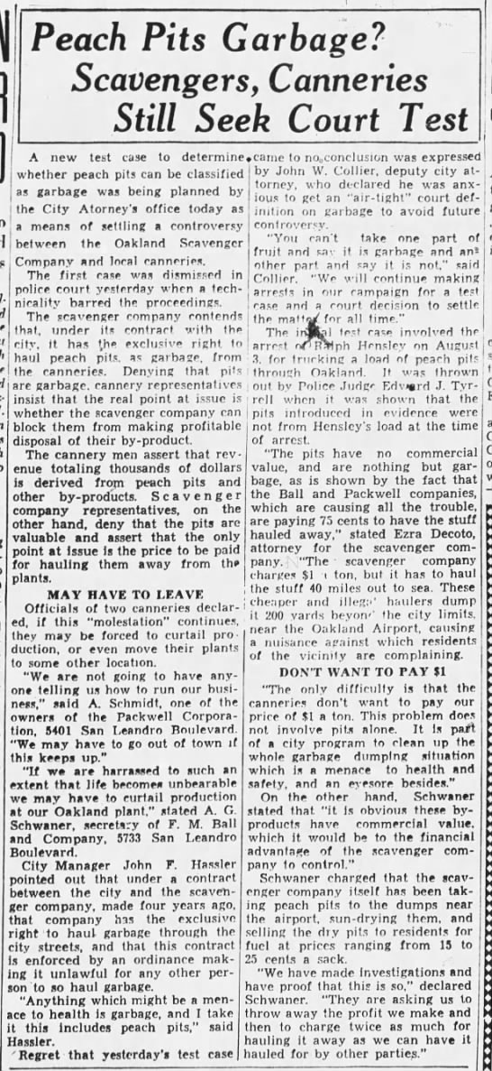 1934-08-10 Oak scavenger v cannery dispute over peach pits -