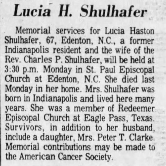 Lucia Haston Shulhafer -
