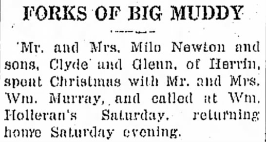 Mr & Mrs Milo Newton visit Hurst, IL 31 Dec 1925 - FORKS OF BIG MUDDY 'Mr. and Mrs. Milo Newton...