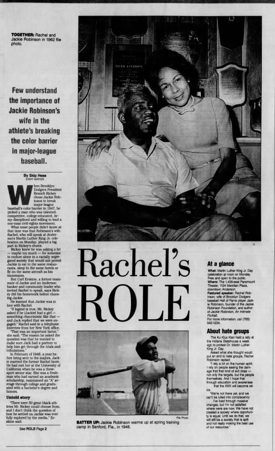 Article about the role Jackie Robinson's wife played in his breaking baseball's color barrier -
