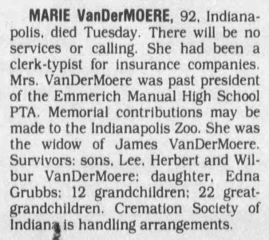 Marie VanDerMoere obituary The Indianapolis Star 19 May 1994 p43 -