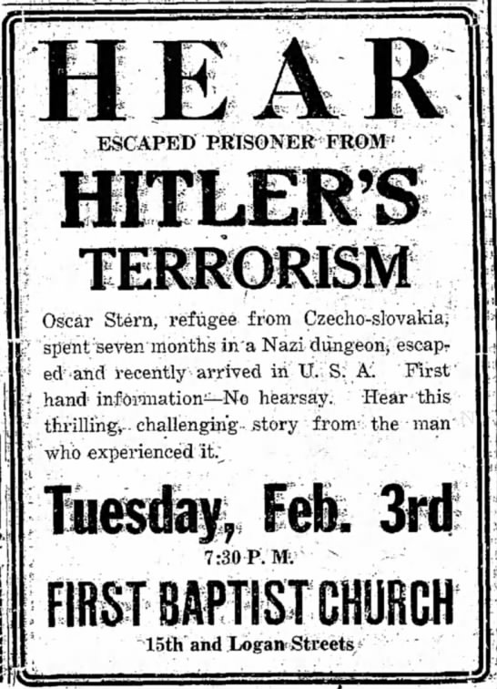 Oscar Stern ad, The Daily Independent (Murphrysboro, IL), 03 Feb 1942, page 2, column 5 & 6 -