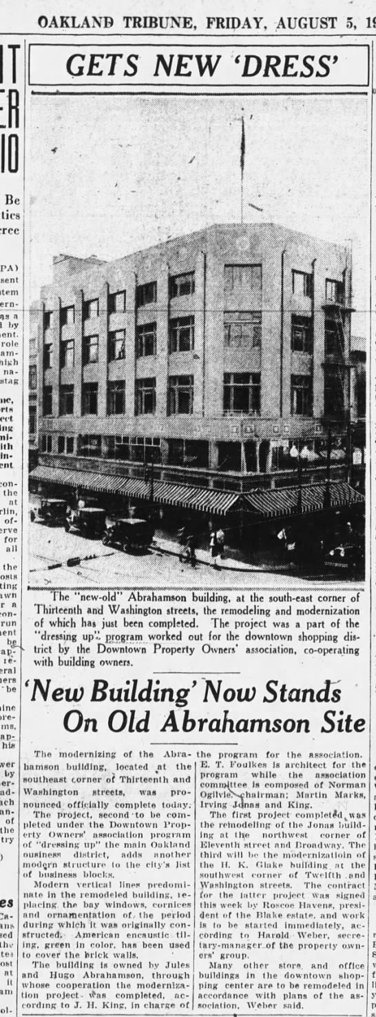 Gets New Dress- Abrahamson building Aug 05, 1932 -