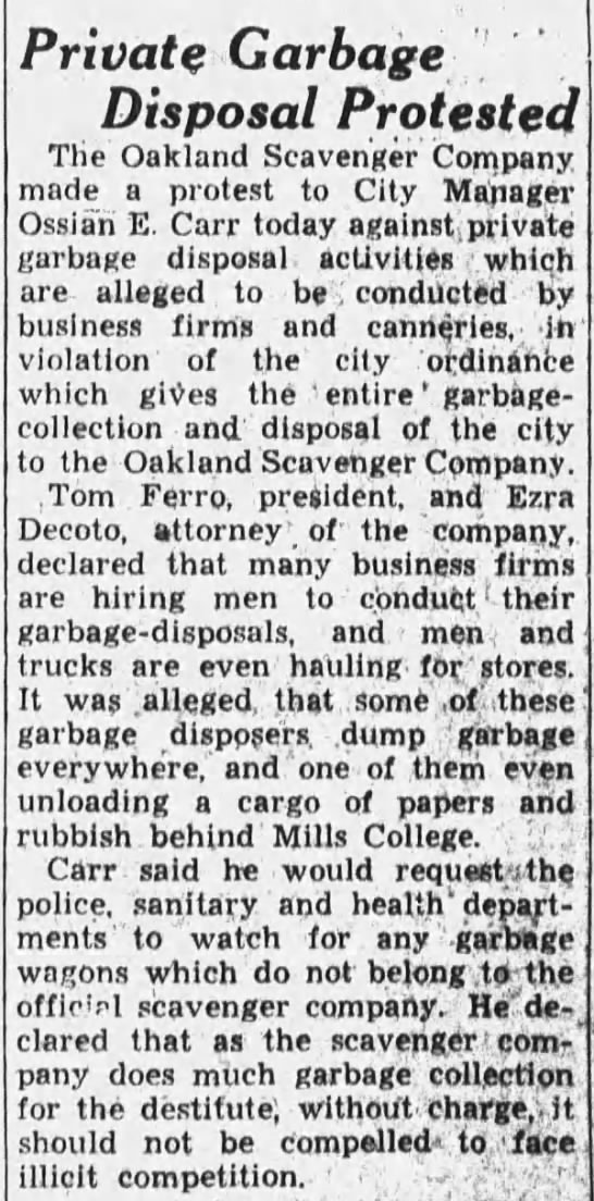 1933-08-18 Oak scavengers protest private haulers -