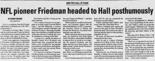 NFL pioneer Friedman headed to Hall posthumously -