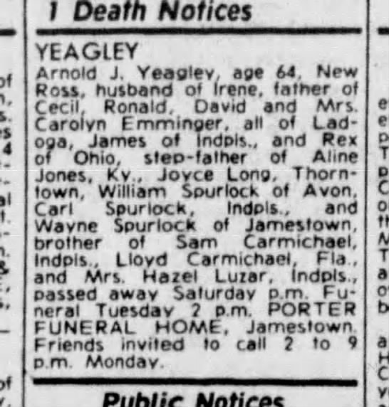 Arnold Yeagley death notice - Newspapers com
