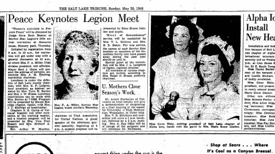 May 30, 1948 - Salt Lake Tribune - Sunday - THE SALT LAKE TRIBUNE, Sunday, May 30, 1948 In...