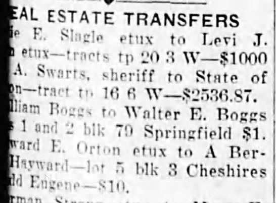 Walter E Boggs real estate transfer -