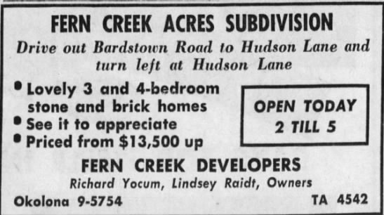 Fern Creek Developers Ad -