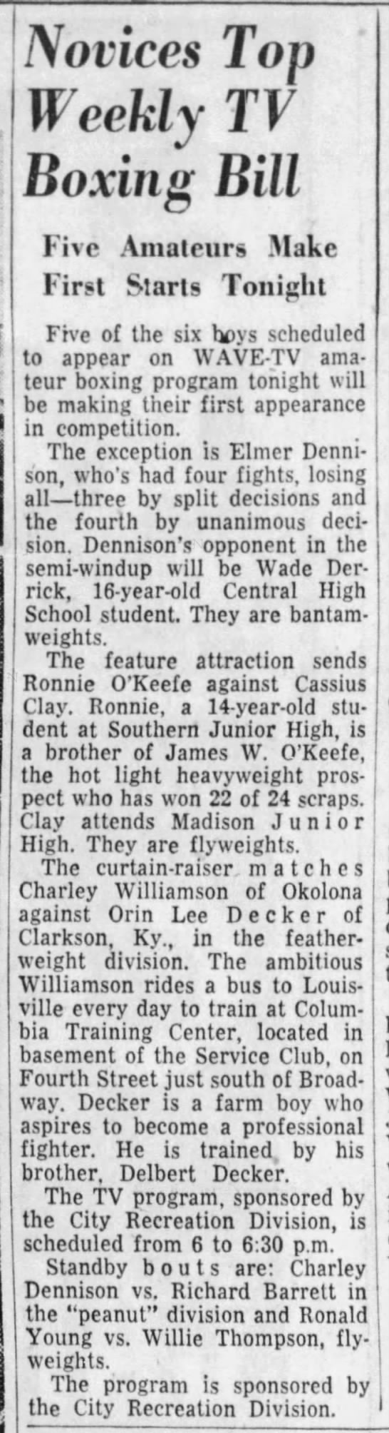 Cassius Clay makes first appearance on amateur boxing TV program in 1954 -