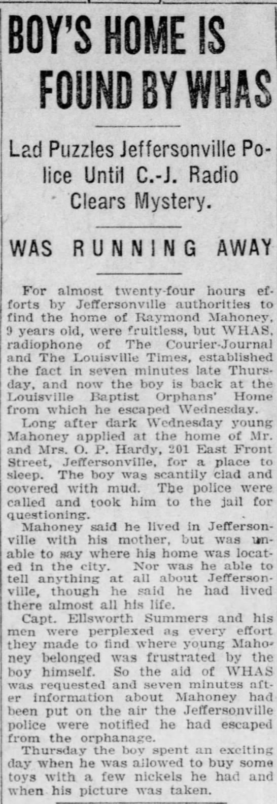 Raymond Mahoney at age 10 ran away from Louisville Baptist Orphans' Home -