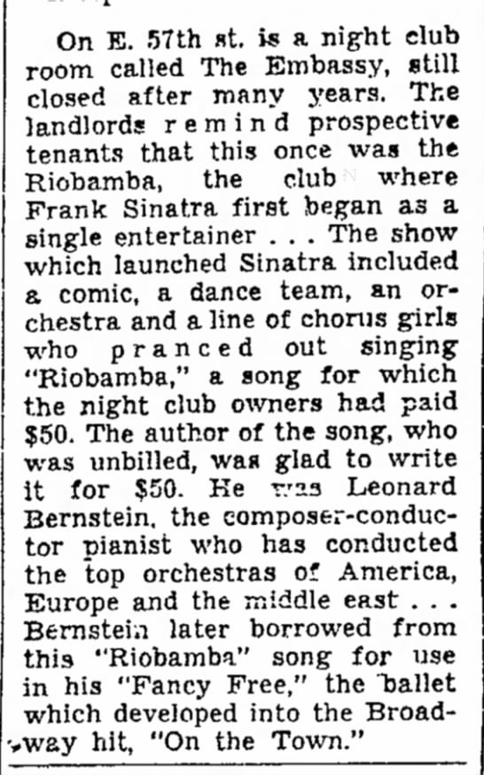 On E. 57th Street, The Salt Lake Tribune (Salt Lake City, Utah), 29 August, 1949, p 19 -