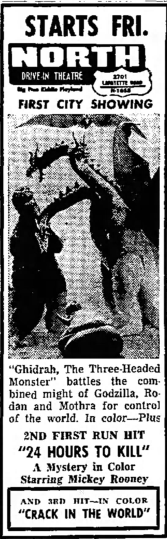 "terre haute star IN 11/11/65 - STARTS FRI. ""Ghidrah, The Three-Headed Monster""..."