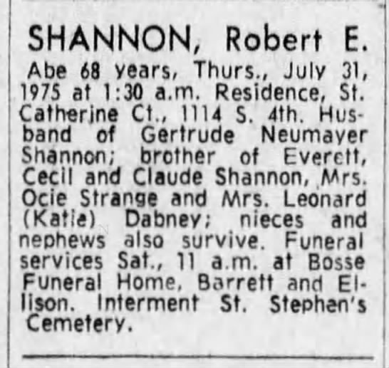 Robert E. Shannon death - X -