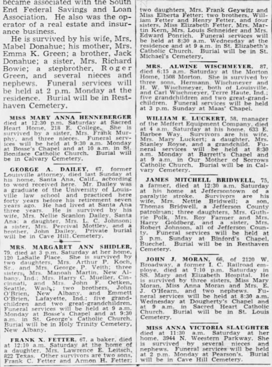 Frank X Fetter Death Notice - Courier-Journal 6 Dec 1942 -
