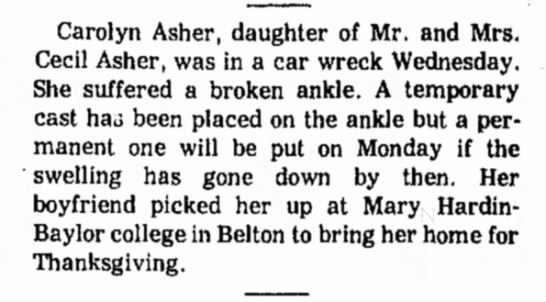 - Carolyn Asher, daughter of Mr. and Mrs. Cecil...