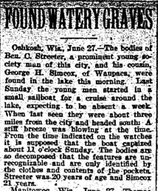 Ben Streeter George Simcox deaths - s ^_ i :Oshkosh, Wis^ June 27.—The bodies of...